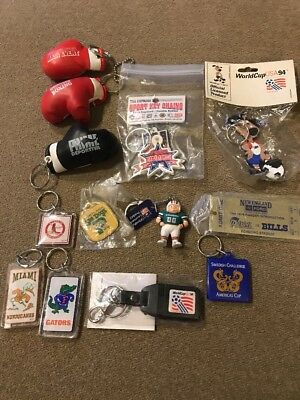 Vintage Lot Of 13 Sports Keychains Boxing, Football, Soccer, Baseball (KC)