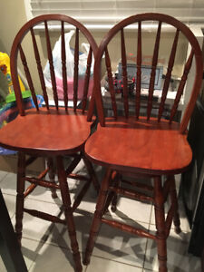 Wooden bar chairs (2 chairs)