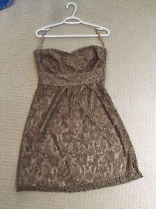 RW & Co Special Occasions cocktail dress lace tan color size 4