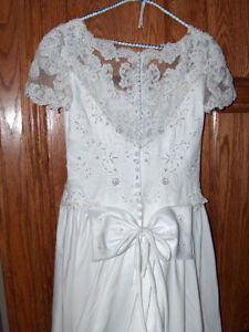 Beaded White Wedding Gown Size 8