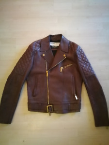 Dsquared Leather Brown Biker Jacket S48 Small M coat bomber