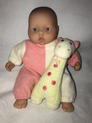 """Tiny Berenguer Baby Doll 7""""  with attached plush giraffe #2"""