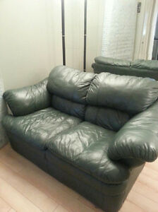 LEATHER LOVESEAT- FOREST GREEN