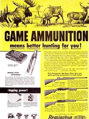 1955 Vintage ad Remington Big Game Ammunition Bear Lion Moose Illustrations 2pg
