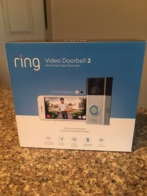 Brand New Ring Video Doorbell 2 Newest Version Satin Nickel 1080 HD Wifi