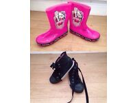 Girls shoe bundle wellies and high top trainers size 11
