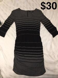 Striped Black & Grey Sweater Dress • Le Chateau