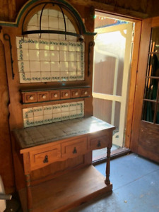Antique hutch and sofa
