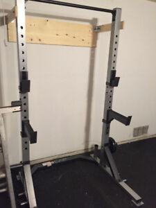 Power Rack Squat Cage Safety Chin Up no dumbbells weight bench