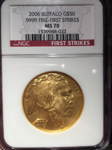 2006 Buffalo Gold coin $50 First Strikes NGC MS70