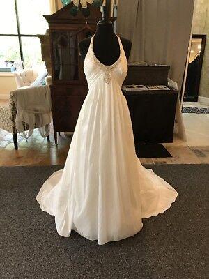Casablanca NWT Ivory Taffeta Empire Waist Halter Wedding Dress Size 6