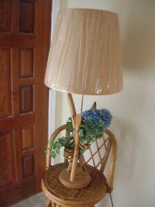 Rattan Swivel Stools and Lamp