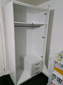 Double wardrobe, white with mirror and 3 drawers
