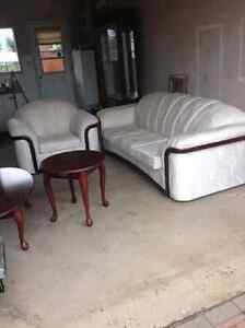 Ivory Couch and matching Chair- Free Side Tables