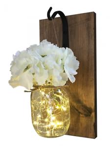Mason Jar Sconces Wall Decor Jars With Lights Fairy Hydrangea Flower