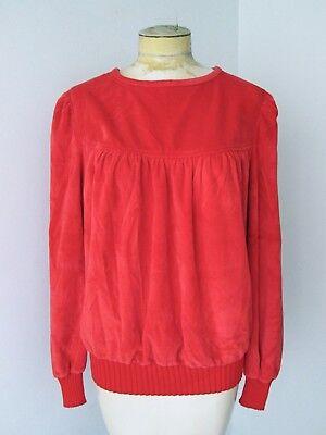 VGC Vtg 70s Sears Fashion Place Tomato Red Velour Knit Disco Top Ruched Yoke XL