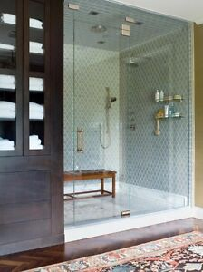 CUSTOM GLASS SHOWER ENCLOSURE WITH INSTALLATION AND HARDWARE