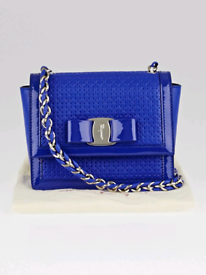 Salvatore Ferragamo Blue Perforated Leather Ginny Crossbody Bag