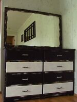 REFINISHED SOLID WOOD DRESSER & MIRROR