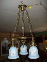 3 lite brass fixture with old original shades