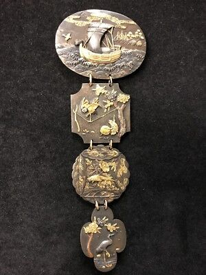 Japanese Meiji Period 1800's 24k + Sterling Silver Brooch Extremely Rare!