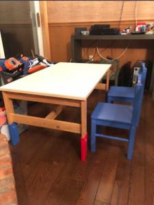 IKEA Children's Table / Desk with Two Blue Chairs