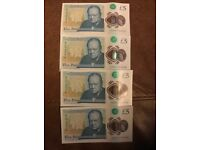 4 brand new plastic, polymer £5 notes, with consecutive AD serial numbers