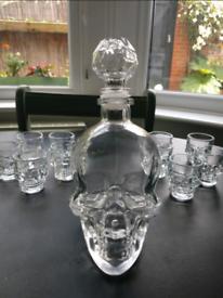 Skull Decanter and Glasses