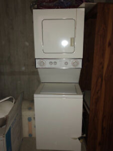 Whirlpool Apartment size stackable washer and dryer.