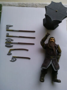 Lord of The rings. Gimli, with battle axe swinging action.