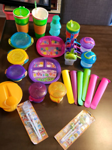 Lot of Childrens Snack and Dishware