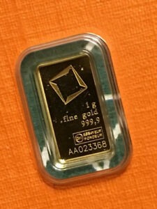 1 gram Valcambi Suisse Fine Gold Bar in Certified Assay Card