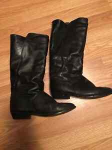 Ladies or girls black leather boots