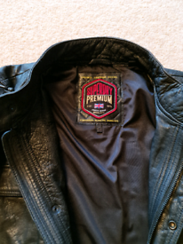 Men's Superdry Leather Biker Jacket Size 2XL