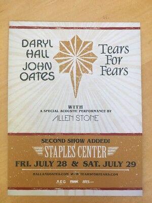 Darryl & Oates Tears For Fears Handbill Staples Center Los Angeles July 28/29 17