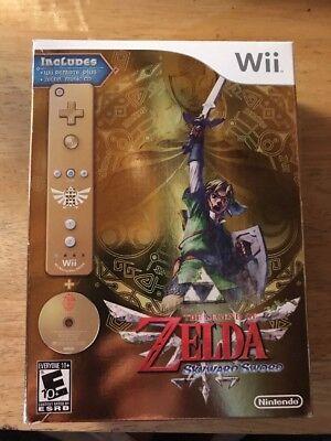 The Legend of Zelda: Skyward Sword Gold Remote Bundle! Limited Edition New/Rare!