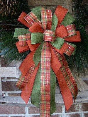 FALL PLAID BOW ORANGE PLAID WIRED for WREATH MAIL POST LANTERN HALLOWEEN B14 - Door Decorating For Halloween