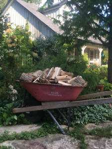 bone dry firewood  hardwood   heaping wheelbarrow pizza oven