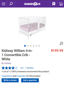 *Sealed in box BRAND NEW white 4in1 convertible crib