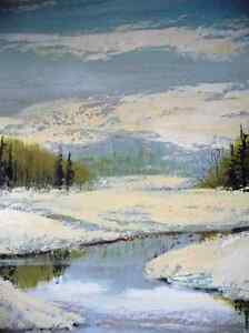Winter Abstract, by Listed Artist Margrit Gatterbauer 1960's Stratford Kitchener Area image 10