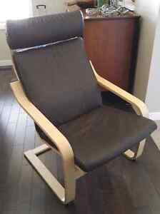 Ikea Poang chair,  brown leather on birch frame