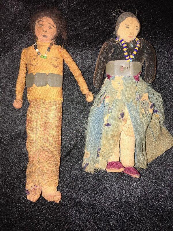 Navajo Indian Antique Lot of 2 Dolls Rare Boy Girl Handmade ca.1860 Estate Fab