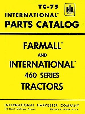 International Harvester Farmall 460 Tractor Parts Catalog Manual Ih