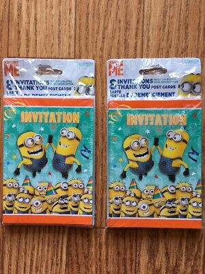 Despicable Me Minions 16 Invitations & 16 Thank You Post Cards Birthday Party