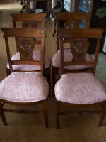 set of 4 refinshed upholstered butternut chairs