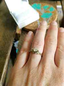 Certified white gold ladies cast diamond engagement ring.