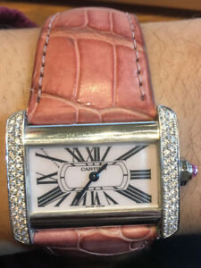 selling Cartier Diamond watch with Pink leather strap