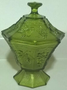 Vintage Tiara Grapevine Green Glass Footed Candy Dish
