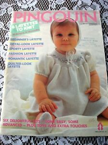 Knitting Patterns for baby layette sets 0-18 mo Pingouin Book
