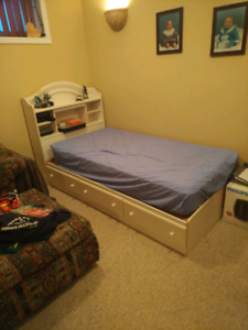 Girl's single Bed with storage and headboard